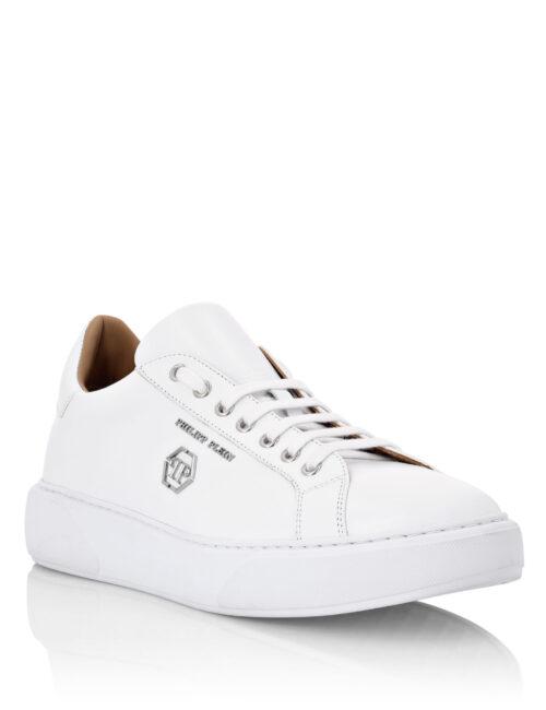 Philipp Plein Leather Lo-Top Sneakers Hexagon Wit