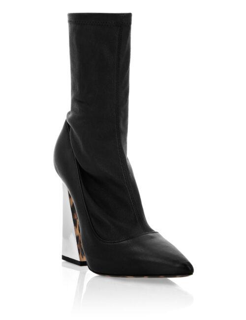 Philipp Plein Leather Boots High Heels Mid Leopard Zwart