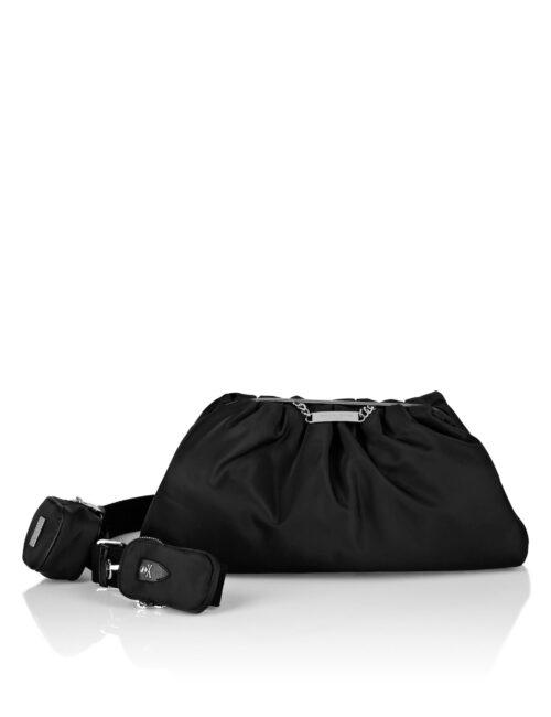Philipp Plein Nylon Maxi Shoulder Bag Iconic Zwart
