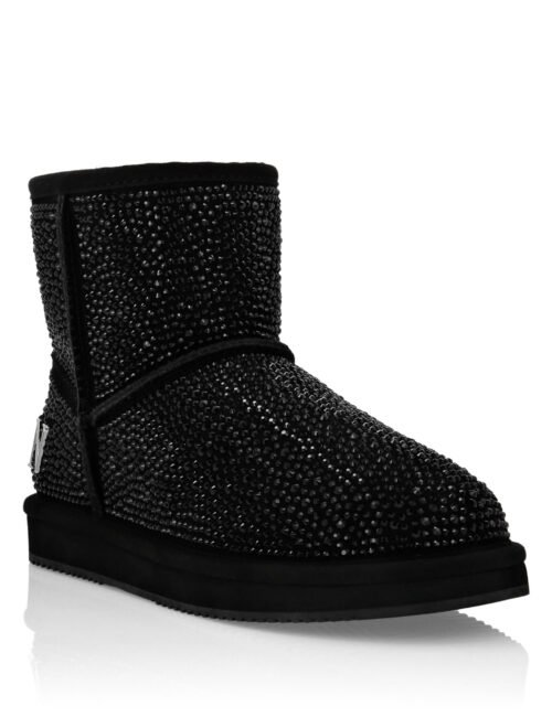 Philipp Plein Boots Mid Flat Stones Zwart