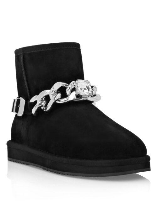 Philipp Plein Boots Low Flat Chains Zwart