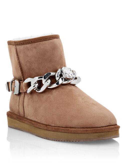 Philipp Plein Boots Low Flat Chains Cognac