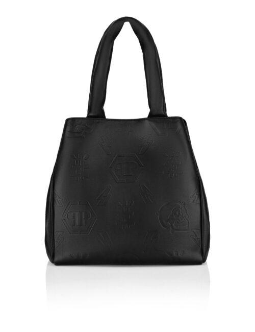 Philipp Plein Leather Handle Bag Embossed Monogram Zwart