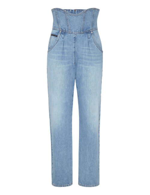 Philipp Plein Denim Trousers 80's Fit Iconic Grisaille Turquoise